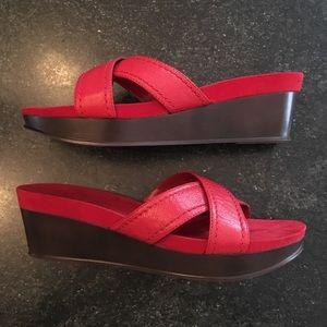 Nine West Red Leather Cross-Cross Platform Sandals